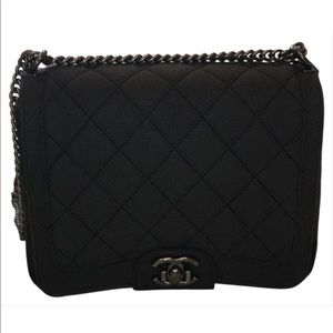 0dfd7eb0e02b Chanel matte black caviar turnaround crossbody bag